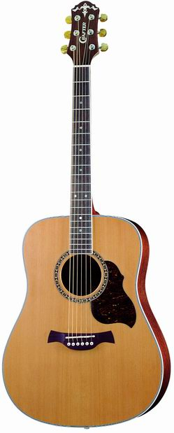 Crafter D 7/N Acoustic guitar, solid Cedar top, Natural color, Bean Chrome M/H