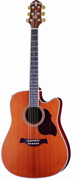 Crafter DE 7/N electro-acoustic guitar, Solid Cedar top, Natural, Bean Chrome M/H, LR-T 4T (LCD Tuner) PreAmp & L.R.Baggs Pick-up