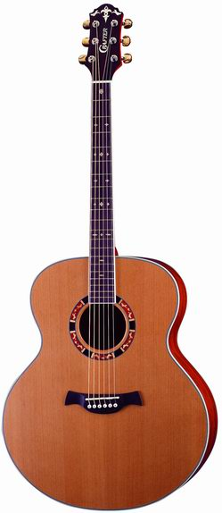 Crafter J 15/N electro-acoustic guitar, Solid Cedar, Dao B & S, CR Tuner, Wooden Inlay, T Brace