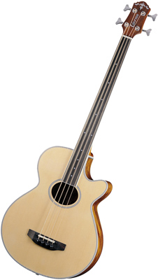 Crafter BA 400EQ FL/N Acoustic Bass guitar, Spruce top, Fretless, LR-T 4T (LCD Tuner) PreAmp & L.R.Baggs pickup