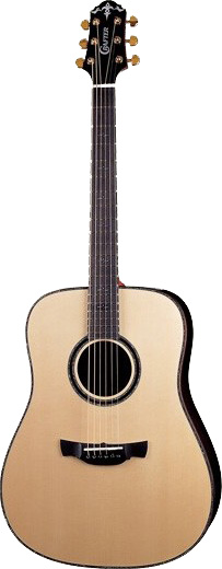 Crafter DLX-4000/RS Acoustic guitar with Hard Case, solid German SP, solid Rosewood B & S, Ebony F-board & bridge, Gotoh Gold machine heads, wood binding