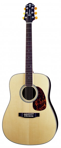 Crafter DV 300/NV Acoustic guitar, solid ES top, solid Rosewood B & S, Herringbone inlay, T-Brace