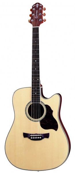 Crafter DE 8/N electro-acoustic guitar, Solid ES top, Natural, Bean Chrome M/H, LR-T 4T (LCD Tuner) PreAmp & L.R.Baggs Pick-up