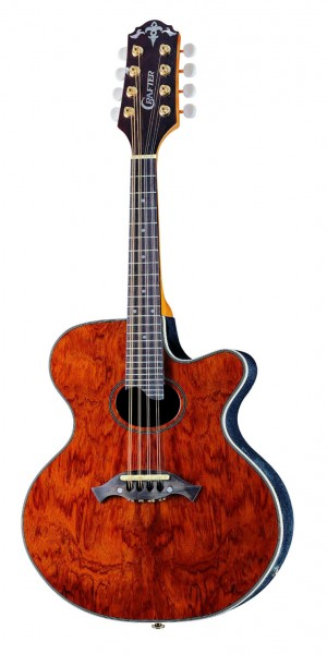 Crafter M-75E/AM Mandolin with Deluxe Soft Bag, Bubinga top, Gold Oval M/H, AM-300EQ Active (1V+2T), Pearl logo