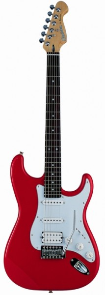 Cruzer ST-200/RD Electric guitar, Color Red, Solid Basswood body, Crafter Diecast CR M/H, Pick-Ups : S+S+H