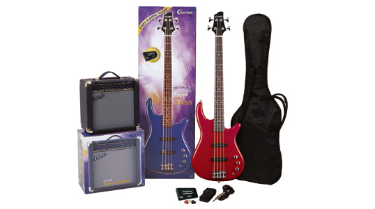 Cruzer CSR-12LB PACK/RD Bass Package, Color Red, CR-15B(Deep Bass Amp), Cable, Strap, Picks, Gig Bag & Electronic Tuner (TG-70)