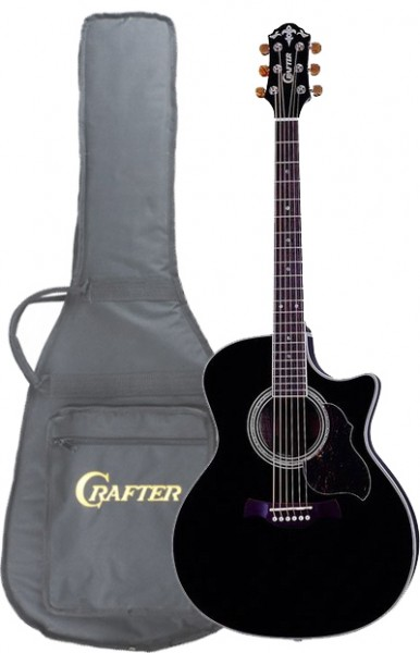 Crafter GAE 8/BK (W/SB-DG) Electro-Acoustic guitar with Crafter SB-DG Soft Bag, Solid ES top, Bean Chrome M/H, LR-T 4T (LCD Tuner) PreAmp & L.R.Baggs Pick-up, Black