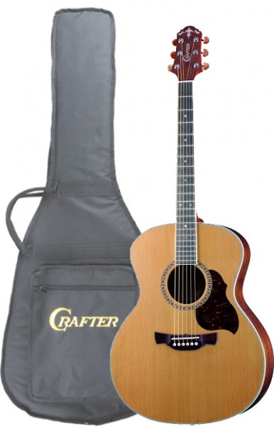 Crafter GA 7/N (w/SB-DG) Acoustic guitar with Crafter SB-DG Soft Bag, solid Cedar top, Natural color, Bean Nickel M/H