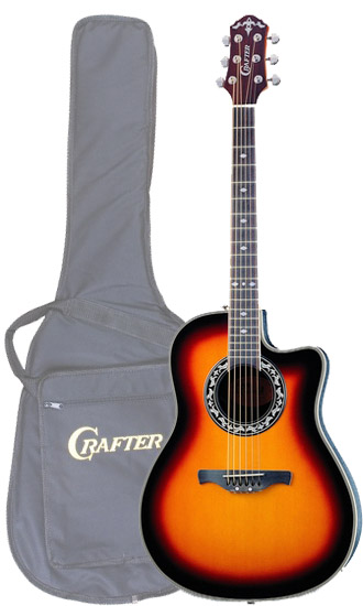 Crafter FSG 250EQ/TS (SB-EG) Electro-Acoustic Guitar with Crafter SB-EG Soft Bag, FA-back, Spruce top, TP-F EQ PreAmp & Cable Pick-up