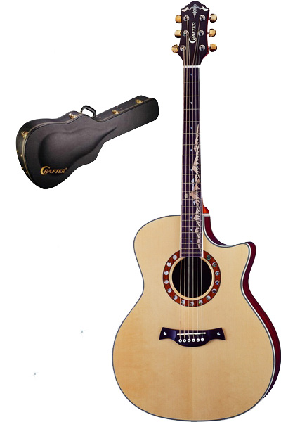 Crafter ML-Bubinga (W/HC-DG) Acoustic Guitar with Crafter HC-DG Deluxe Hard Shell Case, Solid ES top, Bubinga B & S, Moon Inlay, LR-T CV (LCD Tuner) PreAmp & L.R.Baggs P/U, T Brace