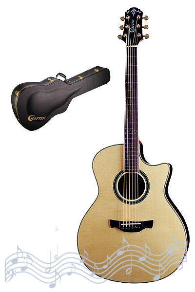 Crafter GLXE-3000/SK (W/HC-DG) Acoustic Guitar with Crafter Deluxe Hard Shell Case, Solid ES top, Solid Indonesian SK Rosewood B & S, L.R.Baggs Stage Pro PreAmp & L.R.Baggs P/U, Gotoh Gold Machine Heads, Wood Binding